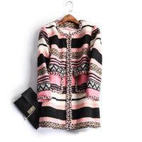 Wholesale Europe and the United States women s new winter Lace stripe cloth coat of cultivate one s morality