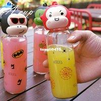 Wholesale 300ml x20cm Korean baby monkey cartoon creative child glass portable cup handle cute male and female superhero cup