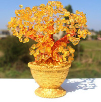 basket tree gifts - Creative natural yellow crystal lucky tree furnishing articles golden flower basket household adornment handicraft and tree