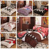 Wholesale Pink Bedding Set VS Duvet Covers Pink Letter Bed Sheet Bedclothes Set Leopard Flower Pillowcases Fashionable Bedding Home Textiles b1127