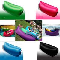 Wholesale OEM Printed logo Fast Inflatable Camping Sofa banana Sleeping Lazy Chair Bag Nylon Hangout Air Beach Bed chair Couch Lay bag