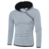 Wholesale PHSH new high quality Hot men s sweatshirts inclined zipper hood patchwork design solid color male s fashion streetwear T shirts colors