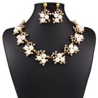 abalone stud earrings - New Fashion Jewelry Set Necklace Statement Stud Earrings Women imitation pearl Jewelry Set For Women Wedding Jewelry sets