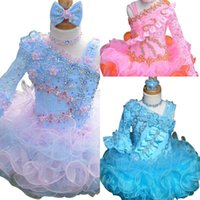 Wholesale Colorful Crystal Beaded Organza Short Sleeve Infant Toddler Cupcake Ruffles Layered Hand Made Flower Little Girls Pageant Dresses