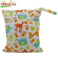 Vente en gros-OhBabyka Wet Sac Nappy Cover Tissu Diaper Mummy Sac 2016 Swim Diaper Backpack Imprimer Personnage Reutilisable Baby Tissu Sac à couches
