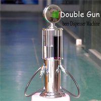 alcohol dispenser pump - 2017 Double GUN Silver Liquor Pump Gas Station Beer Alcohol Liquid Water Juice Wine Soda Drink Beverage Dispenser Machine