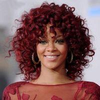 Rihanna Peinado Pelucas Kinky Curly Pelucas Africano Americano Vino Rojo corto sintético Peluca de pelo para las mujeres negras