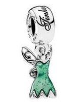 achat en gros de cloches d'argent pandora-2017 Printemps 925 en argent sterling Tinker Bells Dress Dangle charme perle avec émail vert s'adapte Pandora Bracelets de bijoux européens