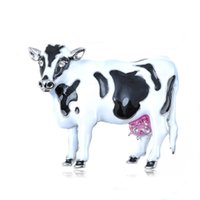 accents painting - Crystal Elements Enamel Painted Moo Cow Pink Accent Udders Pin Brooch