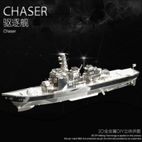 Wholesale Destroyer Metal D Puzzle Military Ship Model Stainless Steel Laser Cutting Model Building Kits Children DIY Assembly Jigsaw Toy
