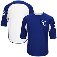 Wholesale stitched Men s Kansas City Royals Eric Hosmer Majestic Royal White Authentic Collection On Field Sleeve Player Batting Practice