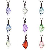 Pendant Necklaces anniversary wishes couple - Good A Wishing stone crystal couple pendant necklace short clavicle WFN058 with chain mix order pieces a