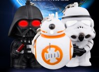 bb flashlight - 2016New Star Wars The Force Awakens BB8 BB Droid Robot Darth vader LED flashlight keychain Figure stormtrooper Clone Strap toy