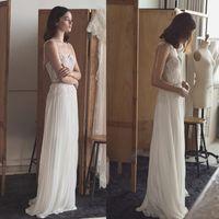 Wholesale Lihi Hod Lace Sheath Wedding Dresses Beaded Spaghetti Neckline Appliques Bridal Gowns Sleeveless Floor Length Chiffon Wedding Gown