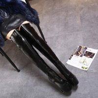 beautiful long toes - The new personality beautiful black leather stage high heeled boots side zipper ultra fine with Long boots