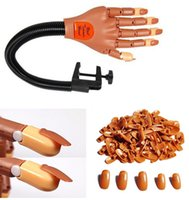 Wholesale Nail Art Practice Fake Hand Flexible Fingers Machine Hand Hand and Nial Tips for free Professional Nail Art Training tool Trainer