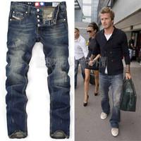Wholesale High Quanlity men famous brand blue denim designer high quality ripped jeans for men classic retro David Beckham