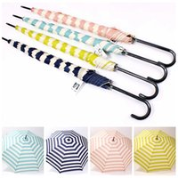Wholesale Navy Stripe Automatic Umbrella Sunshade Rain Umbrella Long Handle Ultralight Retro Umbrellas Hook Handle designs Children Adults Gift F214
