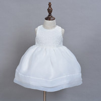 Wholesale 2 Piece set Months Ivory white Infant Princess Christening Gown Dresses Years Baby Girls Birthday White Dress Wedding Party Clothes