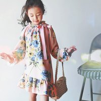 style mode longue roger corée achat en gros de-Everweekend Girls Ruffles Floral Dress Vintage Autumn Corée Fashion Long Sleeve Princess Robe de soirée Pink Holiday Robes