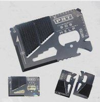 Wholesale 30 EDC Credit Card Size Multifunctional Tool with Para cord SOS Outdoor Camping Survival Emergency Tool Pocket Knife
