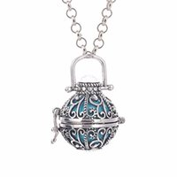 baby metal plates - Fashion Jewelry Women Angel Ball Metal Long Chain Necklace Antique Silver Plated Crystal Stone Cage for Pregnant Women and Baby