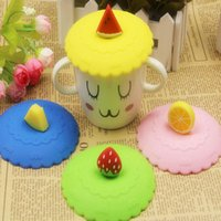 Wholesale 1pc Lovely Anti dust Silicone Fruit Glass Cup Cover Leakproof Coffee Mug Lid Cap Airtight Sealed Cup Cover TT224