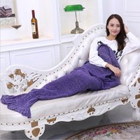 Wholesale 10 Colors Kids Mermaid Sleeping Bags Blankets Lazy Bags Knitted Fish Tail Blankets Swaddings Soft Sleeping Bags for Kids MC0401