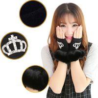 Wholesale Fashion New Men Women Faux Rabbit Fur Hand Wrist Winter Warmer Fingerless Mitten Gloves