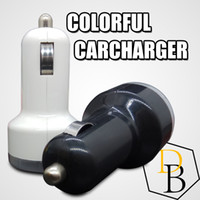 Wholesale 2 USB Colorful Car Charger Cigarette Port v A Micro auto power Adapter Dual USB for Apple samsung s7