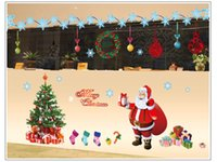Wholesale 2016 Merry Christmas Tree Santa Claus Snowman Wall Sticker Home Shop Art Vinyl Glass Kids Bedroom Ornaments Decoration Decals