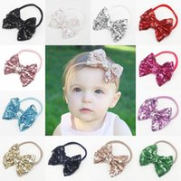 cloth A223  New arrived Children paillette bowknot Headbands baby Girls Head Bands Infants bow sequin Toddler Hairbows Hair ribbon kids Accessories A223