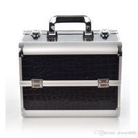 aluminum makeup case - Portable Cosmetics Case Large Aluminium Nail Make up Box New Two Layers Of High Quality Professional Makeup Box