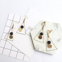 Wholesale fashion homemade American oversized triangle earing plain pearl vesuvianite stone long chain drop chandelier earing clip cuff plated gold
