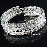 La nueva llegada 3pcs 3rows despeja las pulseras elásticos de los brazaletes de los encantos de las mujeres Rhinestones checas cristalinas La joyería al por mayor A-702 de la manera