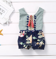 Wholesale summer baby onesie New Flower pompon tassel Girl Romper Fashion Floral Children Jumpsuit Babies Clothes
