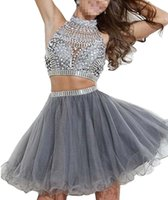 american homecoming - European and American style lovely white gauze gray turtleneck two piece dress beaded homecoming dance