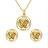 Wholesale new fashion stainless steel Medusa necklace and earrings jewelry sets