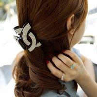 Completa cruz de cristal de la letra C pelo Claw Clips de mandíbula Acrylic Headwear Clasp Cang Rhinestones accesorios para el cabello Negro HC04