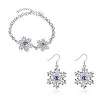Wholesale Top Fashion Christmas the Europe and America Fashion Snow Flower Purple Jewel Silver Plated Bracelet and Earrings