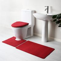 Wholesale Solid Color Bathroom Rug toilet suiteSet Antislip Toilet Mat Bath Mat Superior Coral Fleece Colors