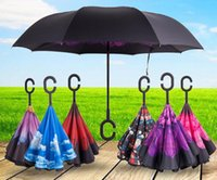 Wholesale 2017 HOT Creative Inverted Umbrellas Double Layer With C Handle Inside Out Reverse Windproof Umbrella designs TOP1564
