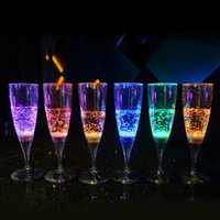 Wholesale ml Multi color Liquid LED Champagne Glass Inductive Color Cup Set Creative Fashion Plastic Goblet for Party Wedding KTV