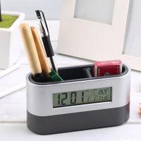 antique pen holders - Multifunctional Home Office Digital Snooze Alarm Clock Pen Holder Calendar temperature Display Black Blue Good Quality Free Ship