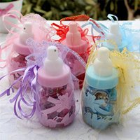 Wholesale Candy Bottle Box Baptism Baby Shower Games Christening Gift Decoration Pink Blue New