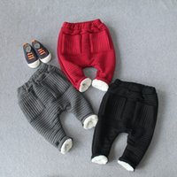 Wholesale Children Baby Trouses Add Plush Winter Pants Baby Kids Clothing Cotton Solid Big PP Casual Warm Children Pants Wholesales