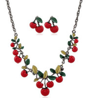 acrylic fruit plate - Cute Fruit Necklace Earrings Sets Spring Summer Style Women Cherry Green Epoxy Leaves Necklace Girls Lovely Necklaces