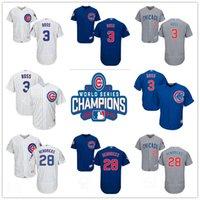 Wholesale 2016 World Series Champions Patch David Ross Kyle Hendricks Chicago Cubs White Blue Gray Mens Baseball Jerseys Size S XL