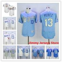 Wholesale Salvador Perez Jersey Hot Sale Mens Kansas City Royals baseball Jerseys Flexbase Coolbase Throwback Blue White Grey