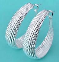 Wholesale 925 Silver Big Earring Jewelry Fashion Big Mesh Earring Jewelry For Women Wedding Gift pairs